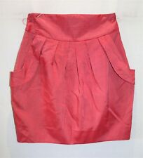 CUE Brand Red Striped Pleated Short Skirt Size 8 BNWT #SA27