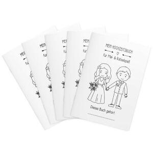 Gastgeschenk für Kinder Malbuch Hochzeit Hochzeitsmalbuch 3er/5er Set