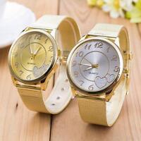 Luxury Clásico Reloj de mujer Ladies Stainless Steel Gold Mesh Band Wristwatch