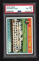 1976 Topps 46 Los Angeles Dodgers Team Card Walter Alston CL PSA Graded 8 NM/MT