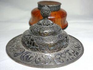 An early 20th Century Tibetan Wooden Silver Overlay Tea Bowl & silver Cover