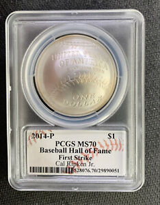2014-P $1 Baseball HOF PCGS MS70 With Cal Ripken Signature/ *No Reserve!