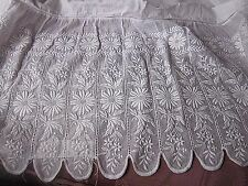 "Circa 1880's English Lace Remnant~Victorian Dress bottom White work ~60"" long"