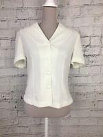 Berkertex Women's Blouse Cream Short Sleeve Shirt Button Bead Detail Size S/M