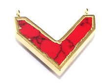 Fabulous Chevron Shape Red Turquoise Gold Plated Connector Making Jewelry D695