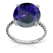 Platinum Plated 925 Sterling Silver Ring w/ Natural 12.0 mm Round Sapphire