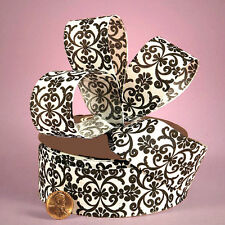 """5YDS Black & White FLORAL DAMASK Printed 1-7/16"""" to 1-1/2"""" Linen Fabric Ribbon"""
