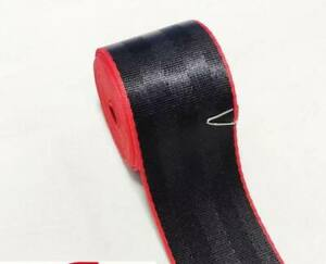 """100 Ft ROLL 2"""" SEAT BELT SAFETY STRAP WEBBING Black Color With Red Edge"""