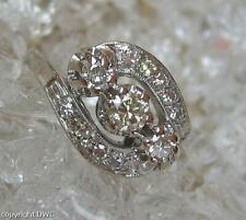 Ring mit Brillant Diamant in 14 Kt. 585 er Weiss Gold Grösse 59 antik Fein!