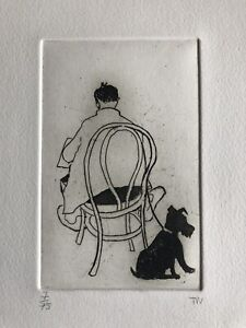 """TESSA NEWCOMB b1955 Limited Edition ETCHING """"Reading the Paper"""" 7/75"""