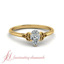 3/4 Carat Pear Shaped Diamond Yellow Gold Cathedral Solitaire Engagement Ring