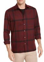 Alfani Mens Shirts Red Size Small S Button Front Chest-Pocket Plaid $65 346