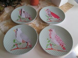 Set of 4 Bird Plates, abstract design, plastic by West Elm