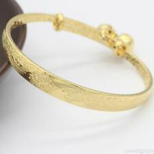 24k Yellow Gold Filled Carved Dragon Bells Bangle For Child