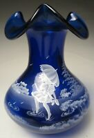Fenton Mary Gregory Hand Painted Cobalt Blue Vase for 2005 QVC Limited Edition