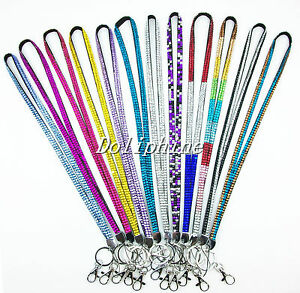 Multi-Colors Crystal Rhinestone Neck LANYARD Key chain and Combined shipping