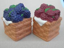 Salt & Pepper Shakers Fruit Basket Blueberries Raspberries plastic resin Summery