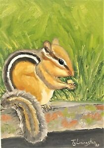 "5""X7"" Original oil Painting of a Chipmunk by Ty Livingston"