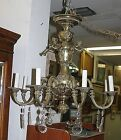 Antique Brass French Baroque Figural 9 Arm Chandelier With Pendalogue Prisms