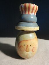 Vintage Primitive Americana Wood Uncle Sam Man Head Face Hand Painted Folk Art