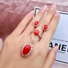 Certified Natural Red Coral 925 Sterling Silver Pendant Ring Earrings Set Women