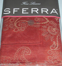 Sferra Miretta Standard Sham Cayenne Red Egyptian Cotton Sateen Jacquard New