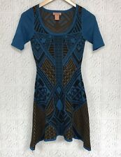 Flying Tomato XS Blue Black Sweater Dress Tribal Aztec Pattern Short Sleeve