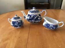 Staffordshire Tea Pot with Sugar with lid and Creamer  W H Grindley England set