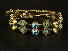 "Pilgrim Danish Design Crystal Choker Collar Necklace 12-15"" Blue Green"