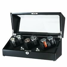 6 Watches Led Carbon Fiber Black Olymbros Wooden 3 Rotors Automatic Watch Winder
