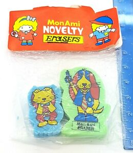 Vintage 80s Mon Ami Dog Cat Erasers Rubber New Sealed