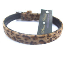"""Leopard Animal Print DOG PUPPY COLLAR 8-11"""", Furry Soft Brown New with tags"""