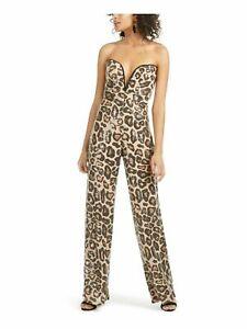 Sho Women's Cheetah Print Sleeveless Straight leg Evening Jumpsuit Size L