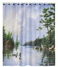 Hautman Brothers Lakeside Trees Ducks Cabin Lodge Woodland Fabric Shower Curtain