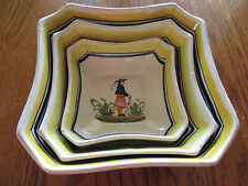 Vintage HENRIOT QUIMPER Rare Square Nesting Serving Bowl Trio EXCELLENT