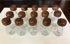 Vintage Spice Jars- Glass with Wooden Tops- set of 15- Never Used