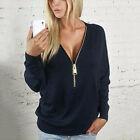 donna tinta unita profondo scollo a V zip maglia camicia felpa da t-shirt