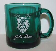 John Deere Deer Head in Letter D CO. 1882 Trademark Logo Green Glass Coffee Cup