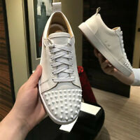 New Men Chic Flats Fashion Sneakers Suede Leather Lace Up Spike Rivet Punk Shoes