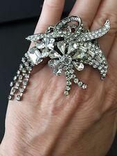 Designer Large Crystal Statement Ring Brass Gunmetal Color Plating Size 6.5