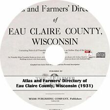 1931 Eau Claire County, Wisconsin Atlas & Plat Book ~ History Maps on CD