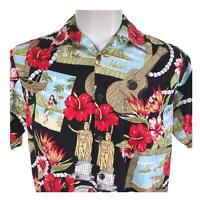 Go Barefoot King Kamehameha Statues Aloha Tower Hibiscus Medium Hawaiian Shirt