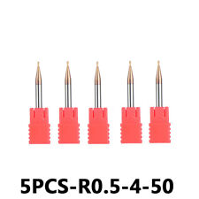 5Pcs Ball Nose Carbide End Mill Set For Steel Radius 0.5mm 2 Flute TiAIN Coated