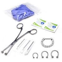 10-Pcs Septum Piercing Kit - Horseshoe Circular, Septum, Needle, Forceps, Gloves