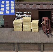 #H041 HO Plaster Wood Crates 12pcs HOn3 Produits MP diorama Caisse de bois