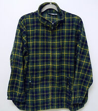 King Size Zip Front Long Sleeve Green Blue Plaid KING SIZE Fleece Jacket 5XL Big