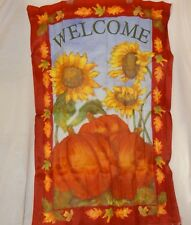 "Welcome Thanksgiving Garden Flag Yard Size 27"" x 39"" Harvest Holiday Pumpkins"
