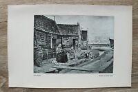 Kunst Druck 1 Blatt 1905/06 Stiller Winkel nach Gemälde von Rudolf Possin Häuser