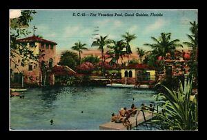 DR JIM STAMPS US VENETIAN POOL CORAL GABLES FLORIDA LINEN COLORTONE POSTCARD