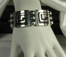 Rare TAXCO Aztec Bracelet by JL FLORES & Miguel GARCIA 64g Sterling MID CENTURY